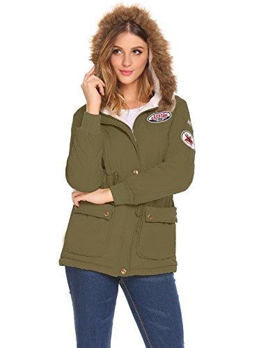 Abrigo con Casual para Largo Invierno aceshin Chaqueta verde Mujer ZBwq1F