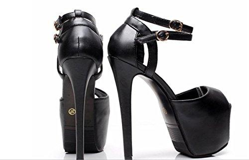 Modo delle donne YCMDM Ultra-High Heels impermeabili dei sandali della fibbia Hollow , black , 38