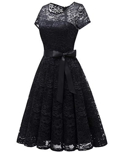 Plisado Mujeres Floral de Dama de Escote Bridesmay Semi Opaco Encaje de Corta Honor Manga Vestido Negro znOnx7d