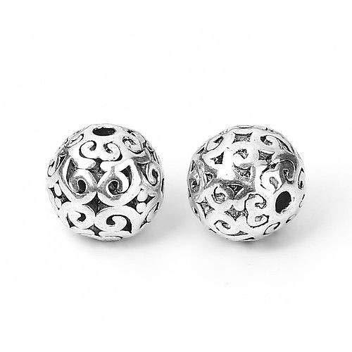 5 Antiqued Tibetan Silver 12mm Hollow Filigree Flower Round Spacer Focal Beads