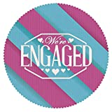iPrint Durable Round Tablecloth [ Engagement Party Decorations,We are Engaged Quote with Bold Striped Backdrop Image,Blue and Purple ] Duty Cute Fabric