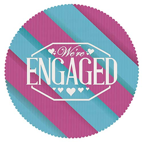iPrint Durable Round Tablecloth [ Engagement Party Decorations,We are Engaged Quote with Bold Striped Backdrop Image,Blue and Purple ] Duty Cute Fabric by iPrint