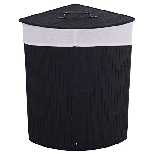 Giantex Corner Bamboo Hamper Laundry Basket Washing Cloth Bin Storage Bag Lid (Black)