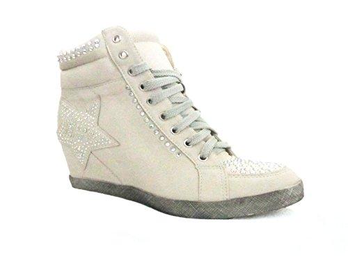 Loudlook Nouvelles Femmes Chaussures Femmes Cheville Lace Up Plat Diamante Salut-Dessus Wedge Bottes Baskets Taille 3-8 Beige E7MGqqr1