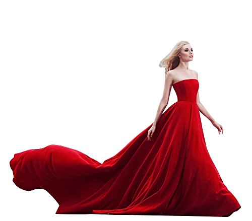 Kevins Bridal Strapless Long Prom Dress Satin Chapel Train Formal Evening Gowns Red Size 26W