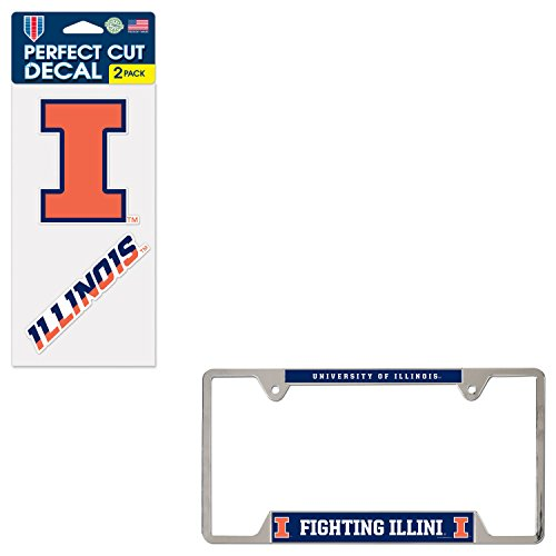 WinCraft Bundle - 2 Items: University of Illinois Metal License Plate Frame and Die Cut Decals