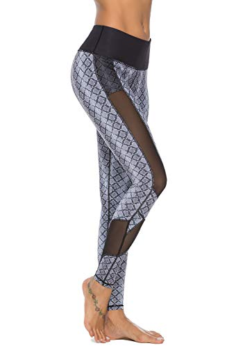 (Mint Lilac Women's High Waist Printed Yoga Pants Full-Length Workout Leggings with Mesh Panel Large Black)