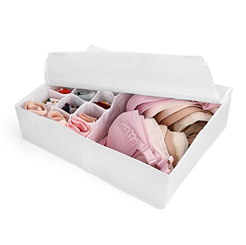 Foldable Closet Underwear Organizer With Lid,Drawer Divider Organizers,Perfects for Sorting Storage Socks,Bra,Scarves and Lingerie in Wardrobe or Under bed,Breathable Washable Oxford Fabric(white)