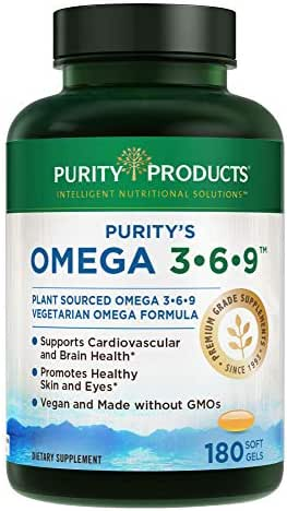 "Omega 3-6-9 Vegan + Vegetarian Omega Formula - ""5 in 1"" Essential Fatty Acid Complex - Scientifically Formulated Plant-Based Omega 3 6 9 Essential Fatty Acids (EFA) - from Purity Products (180 caps)"