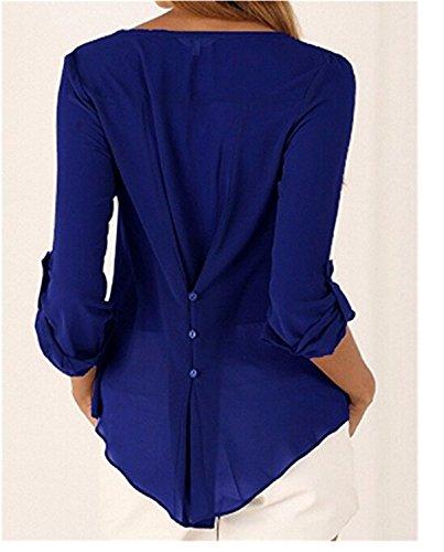 YOGLY Camiseta de Mujer Blusa con Cuello en V Manga Larga Grande Floja Yardas Camisa de Gasa Azul