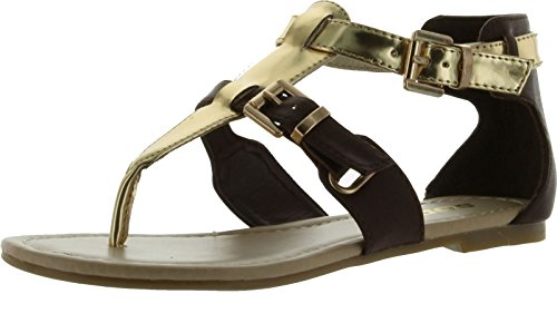 Soda Women Carpen Closed Back Thong Sandals,Tan/Gold,7.5