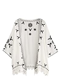 SweatyRocks - Kimono de Encaje Floral para Mujer, diseño de Chamarra de Playa