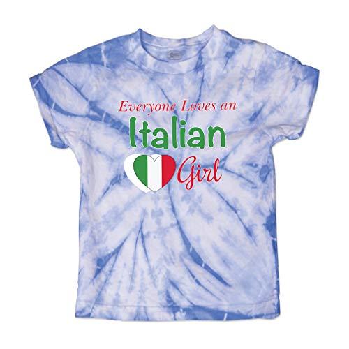 Everyone Loves an Italian Girl Short Sleeve Crewneck Baby Boys-Girls Cotton Tie Dye T-Shirt Fine Jersey - Carolina Blue, 3T