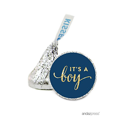 Andaz Press Chocolate Drop Labels Stickers Single, Baby Shower, It's a Boy Navy Blue and Gold Glitter, 216-Pack, For Hershey's Kisses Party Favors, Gifts, Decorations (Stickers Boy Gift)