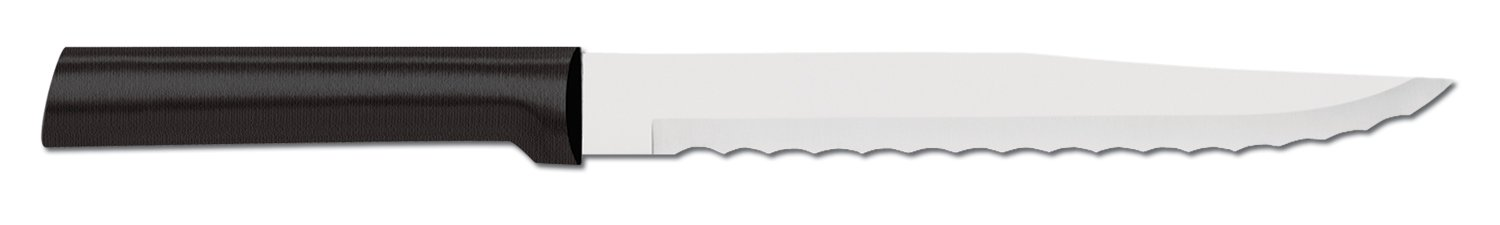 Rada Cutlery Serrated Slicing Knife - Stainless Steel Blade and Steel Resin Handle Made in the USA 1 SERRATED SLICER KNIFE - You won't find a better knife for cutting heads of lettuce or slicing through the tough outer skin of melon.  The blade on the serrated slicing knife measures 7 inches and has an overall length of 11-1/4 inches. STAINLESS STEEL BLADE - The blade on the serrated slicing knife is made from surgical grade, T420 high carbon stainless steel. The blade is wide and boasts a double-sided serrated edge. DISHWASHER SAFE HANDLE - The handle on this serrated slicing knife is comprised of a black stainless steel resin that can be washed in the dishwasher.  Hand washing fine cutlery is recommended but this handle is dishwasher tolerant.