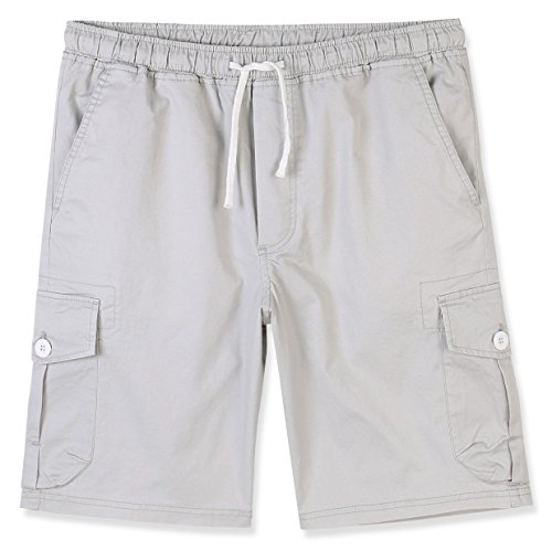 Estepoba Men's Premium Casual Slim Fit Stretch Cotton Twill Cargo Jogger Short Stone Gray L