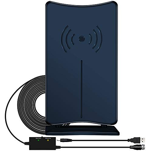Amplified HD Digital TV Antenna, JoyGeek Indoor HDTV Antennas Stand 120 Miles Long Range Wave Support 4K HD Freeview VHF UHF Local Channels USB Power Signal Booster 16ft Coax Cable for Fire TV Stick