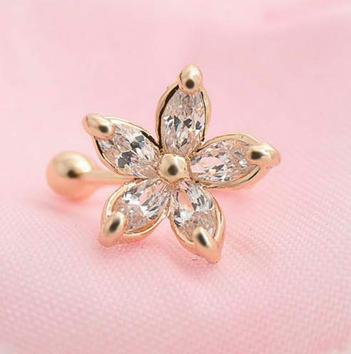 Wausa Fashion 1PC Crystal Flower Ear Cuff Earring Fashion Womens Wrap Clip On Jewelry | Model ERRNGS - 7150 |