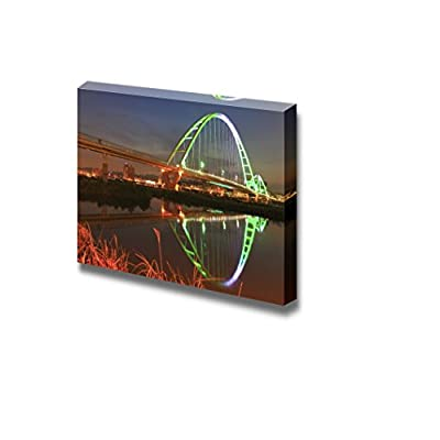 Beautiful Colorful Bridge in The Evening with Reflection on The Water Surface - Canvas Art Wall Art - 24