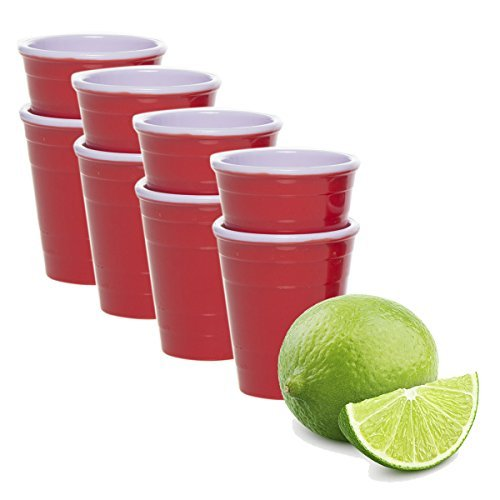 Drinkmate (8 Pack) Reusable Mini Cups 2oz Red Solo Cup Style Party Shot Glasses Plastic Jello Shooters