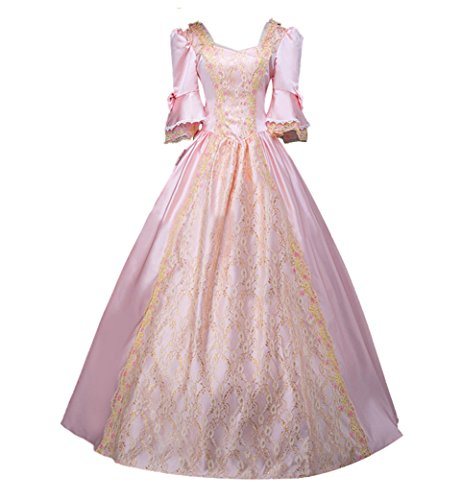 ROLECOS Womens Royal Retro Medieval Renaissance Dresses Lady Satin Masquerade Dress Pink L
