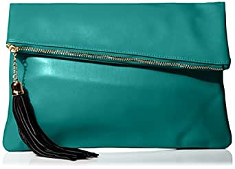MG Collection Snakeskin Foldover Clutch, Forest Green, One Size