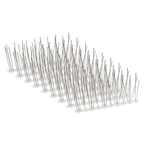SE-BIRD Birds Spikes (1.2FTx5in) 30pcs Stainless Steel Spikes,Flexible UV-Proof Polycarbonate Base,Modular Pack to Cover Defferent Areas,Keeps Large/Small Birds Away