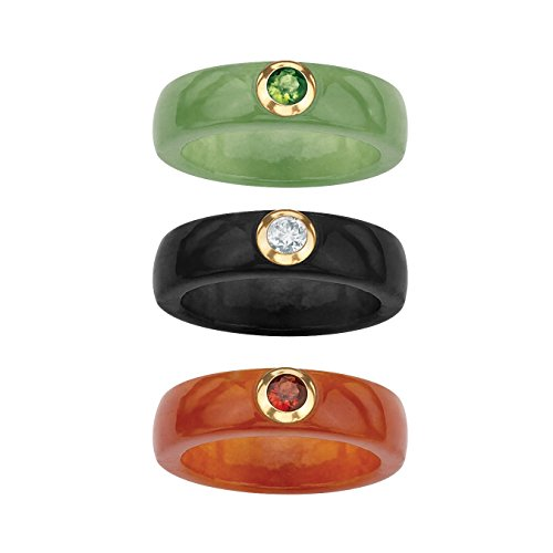Genuine Jade with Peridot, Garnet and Topaz 10k Yellow Gold 3-Piece Ring Set Size (Jade Engagement Rings)