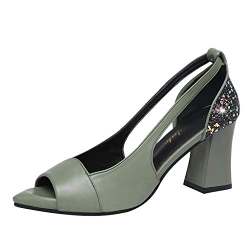 Nadition Low-Heel Wedge Shoes❤️️ Women Ladies Fashion Peep Toe Crystal Cutout Shoes Causal High Heeled Work Shoes Sandals Light Green