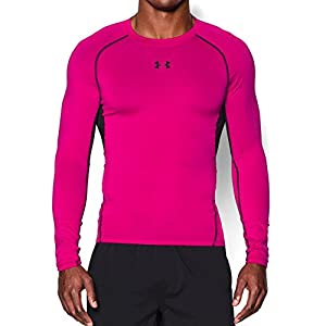 Under Armour Men's HeatGear Armour Long Sleeve Compression Shirt, Tropic Pink/Black, X-Large