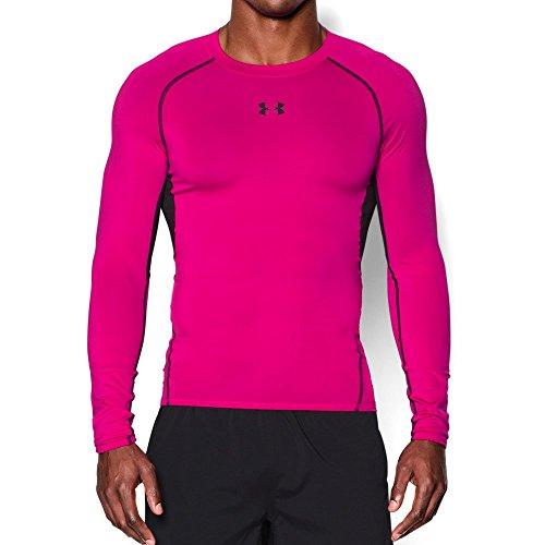 Under Armour Men's HeatGear Armour Long Sleeve Compression Shirt, Tropic Pink/Black, Large