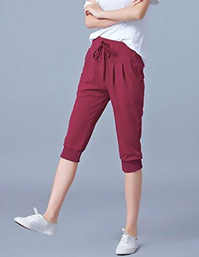 Baggy Colori Donna Yoga Training Tempo Libero 3 Con Tuta Waist Solidi Jogging Outdoor Grazioso High Elastico Pantaloni Giovane Coulisse Estivi Winered Pantaloni 4 Eleganti Fashion Pantaloni Pantaloni AS0w5