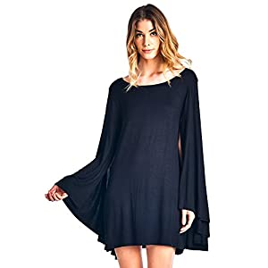 12 Ami Solid Long Cape Sleeve Mini Tunic Dress – Made in USA