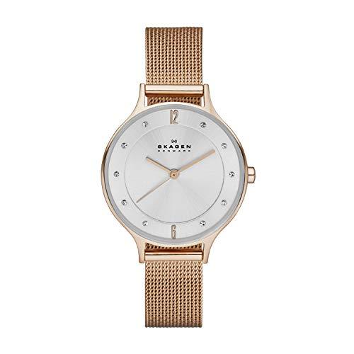 Skagen Women's Anita Quartz Stainless Steel Mesh Watch, Color: Rose Gold-tone, 12 (Model: SKW2151)
