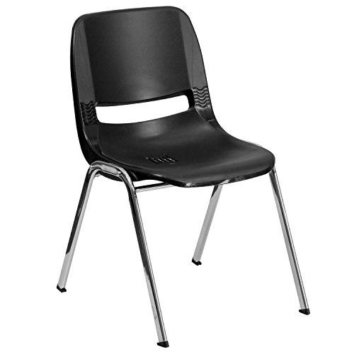 Flash Furniture HERCULES Series 661 lb. Capacity Black Ergonomic Shell Stack Chair with Chrome Frame and 16'' Seat Height ()