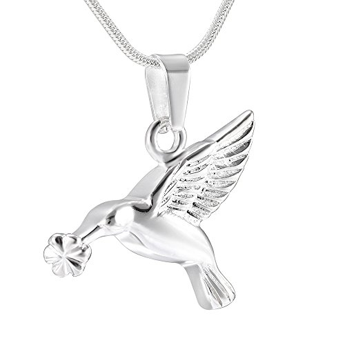 - EternityMemory 925 Sterling Silver Hummingbird Cremation Urn Necklace Animal/Pet Ashes Memorial Pendant (Silver)