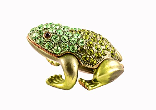 Small Frog Trinket Box, Olive & Peridot Swarovski Crystal, Hand Painted Green Enamel Over Pewter, Inside of Box with Lovely Enamel, L 1.75 X H 1.00 X W 1.50