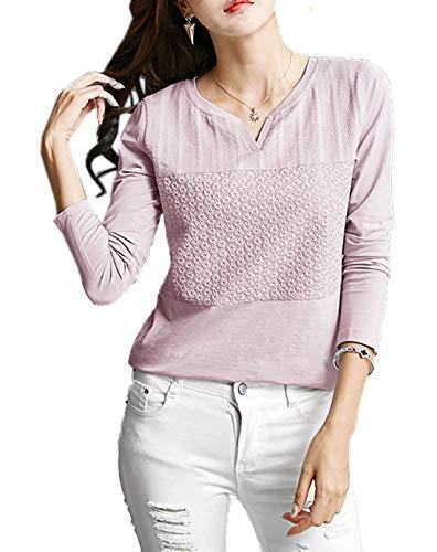 Tops JackenLOVE et Lotus Printemps T Casual Violet Jumpers Slim Hauts Tees Shirts Fashion Automne Longues Manches Femmes Blouse vrvFa5nwq