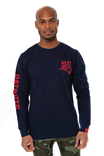 (Icer Brands NFL New England Patriots Men's Fleece Sweatshirt Long Sleeve Shirt Reflective, Small, Navy)