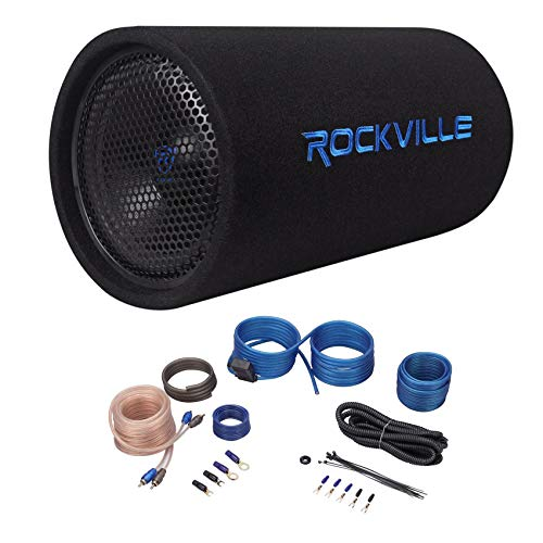 "Rockville RTB10A 10"" 500w Powered Subwoofer Bass Tube+Bass Remote + Amp Kit"
