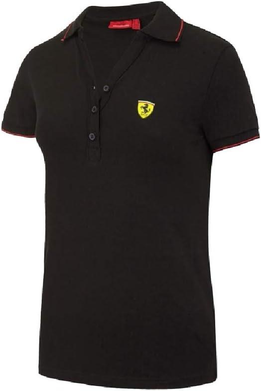 Ferrari F1 Team - Polo de piqué de algodón para Mujer, Color Negro ...