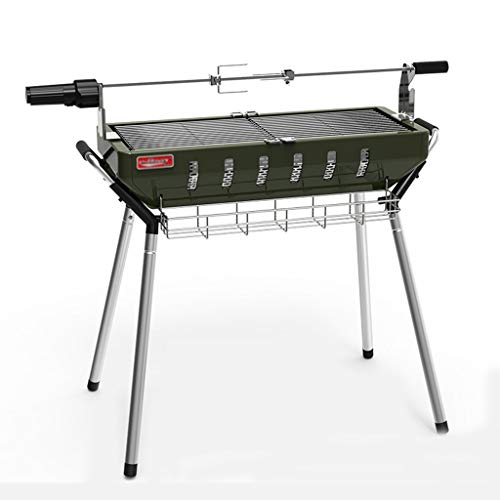 Barbecue Grill Charcoal Tools Stainless Steel Oven Garden Rotating Grill Camping Dinner Folding BBQ Tools Tool Set…