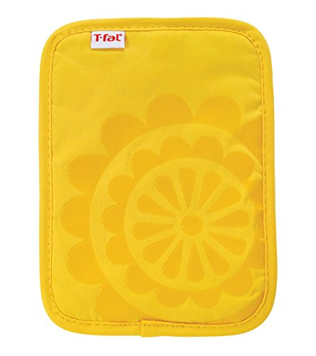 T-fal Textiles Silicone Printed Medallion 100% Cotton Twill Hot Pad Pot Holder, 9-inches x 6.75-inches, Lemon Yellow