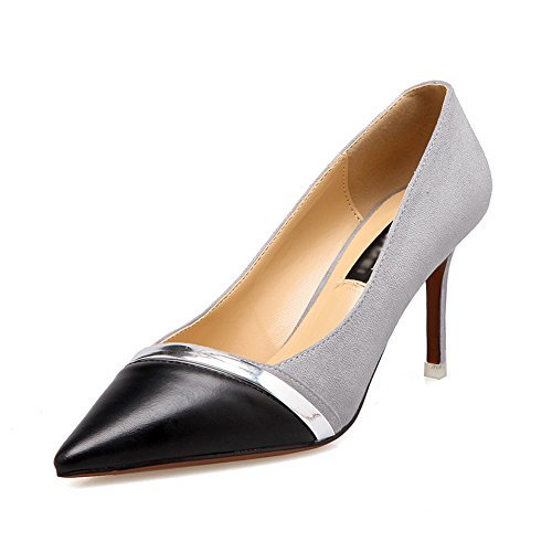 Women Spring Suede Colorblock Pointed Toe Ankle Strap Stiletto High Heels Court Shoes Party Pumps Gray DXV1wfybv