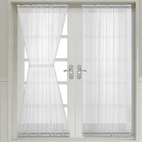 Abri White Rod Pocket Crushed Sheer Door Curtain Panel, 50×72 inches, by Royal Hotel