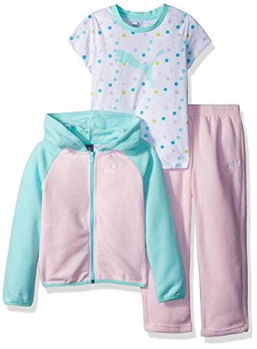 PUMA Little Girls' Three Piece Micro Fleece Set, Cherry Blossom, 6 Image
