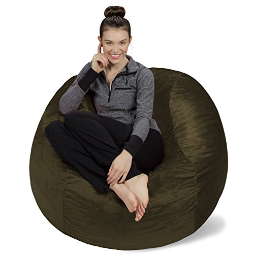 Sofa Sack - Plush, Ultra Soft Bean Bag Chair - Memory Foam Bean Bag Chair with Microsuede Cover - Stuffed Foam Filled Furniture and Accessories for Dorm Room - Olive 4' (4' Olive)