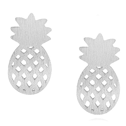 Bokeley Fashion Earrings Gift, Jewelry Pineapple Shape Earrings Ear Studs Lovely Cute Ornaments for Girls (Silver)