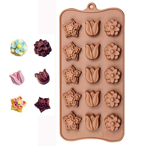 (Silicone Ice Cube 15 Lattices Rose Flower Shape Swirls Chocolate Molds Cake Moulds Star Heart Shell Etc)