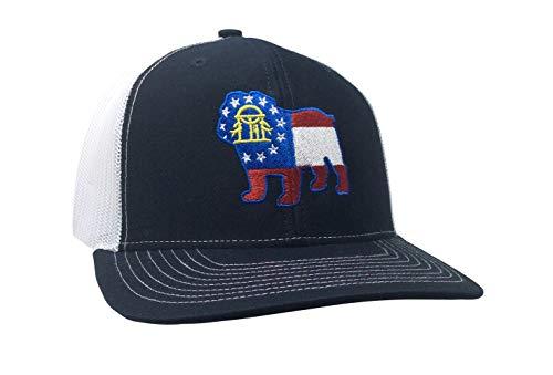 Heritage Pride Georgia Flag Bulldog Embroidered Trucker Mesh Snapback Hat-Navy-White -